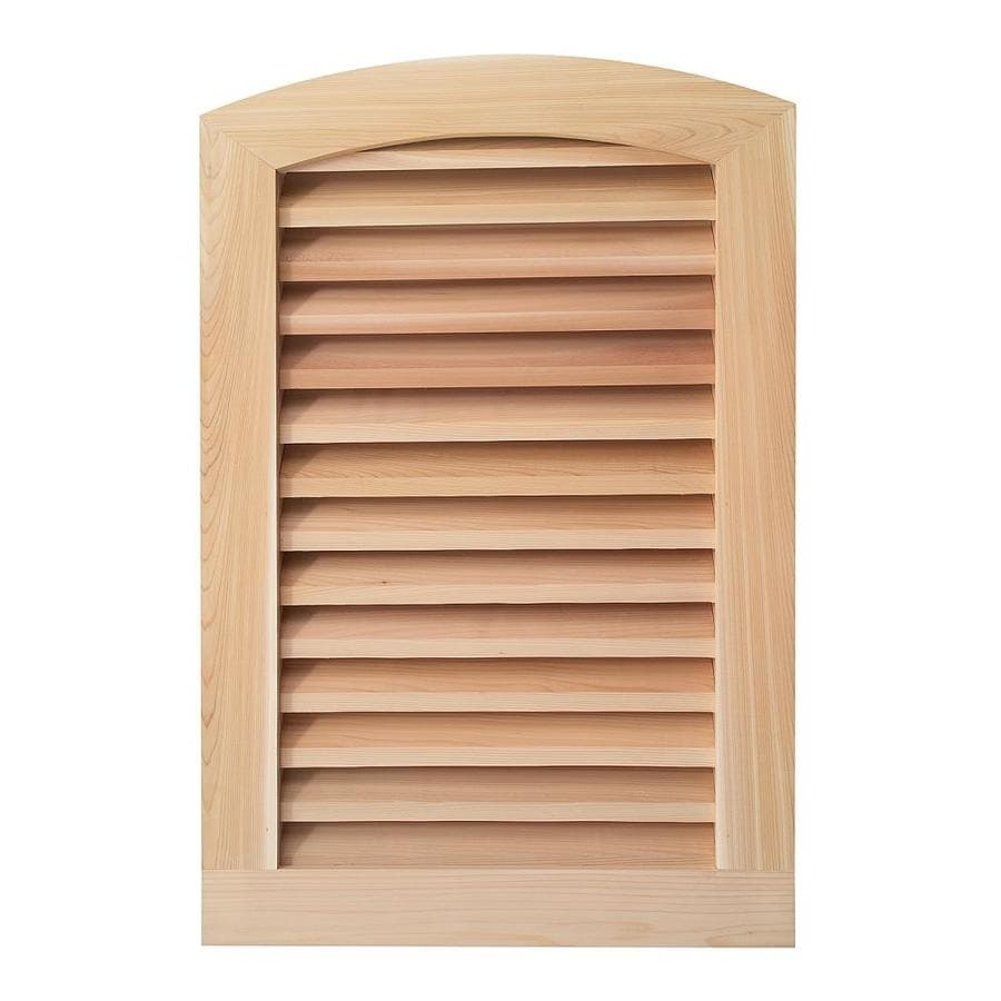 AWSCO 16-in x 28-in Raw Redwood Round Top Wood Gable Vent