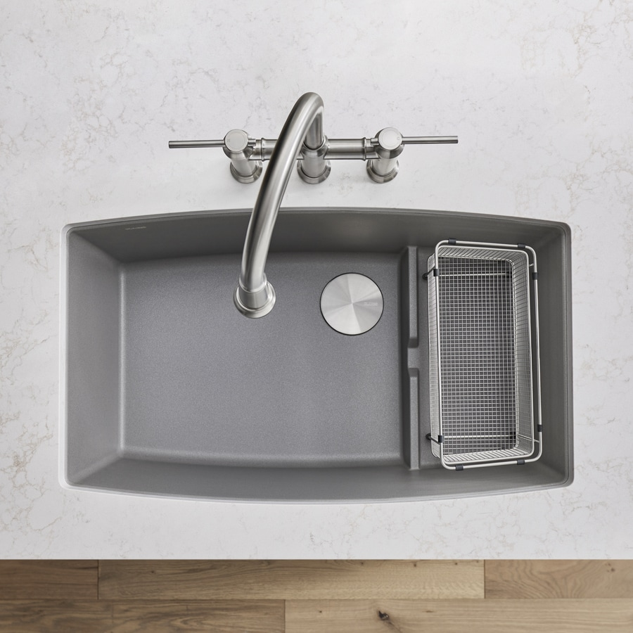 BLANCO Performa 19.5-in x 32-in Metallic Gray Single-Basin Granite Undermount Residential Kitchen Sink