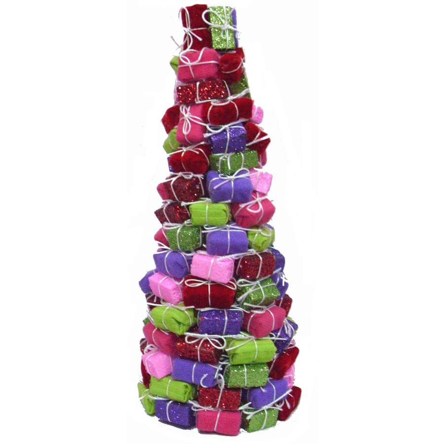 Holiday Living 16-in Foam Whimsical Package Tree Tabletop Christmas Decoration
