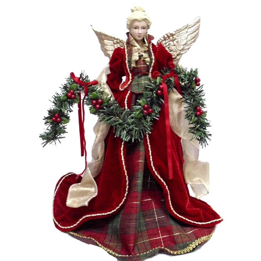 Holiday Living 16.25-in Fabric Angel Red and Gold Christmas Tree Topper