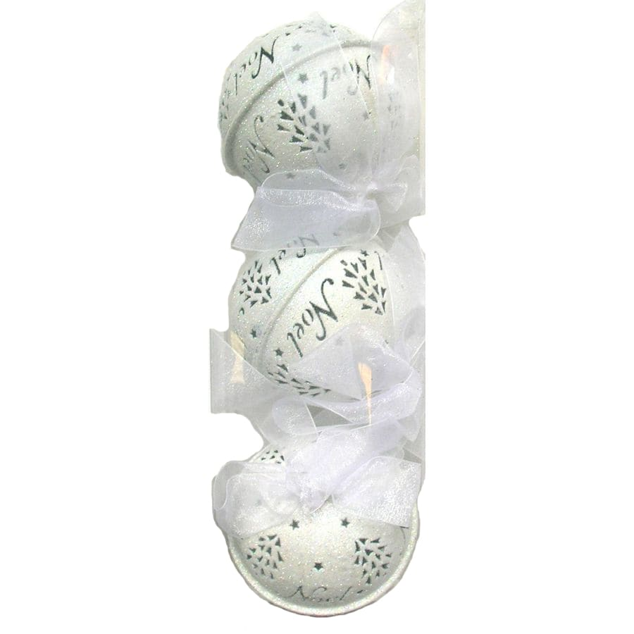 Holiday Living 3-Pack White Metal Glitter Bell Ornaments