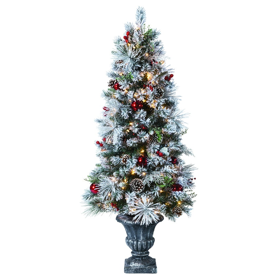 Holiday Living 5-ft Pre-Lit Pine Flocked Artificial ...