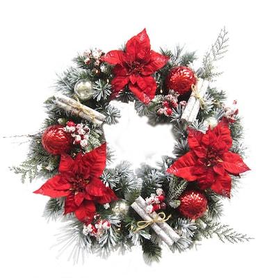 Red And White Christmas Wreath.30 In Pre Lit Indoor Outdoor Battery Operated Red White Poinsettia Artificial Christmas Wreath With White Warm White Incandescent Lights
