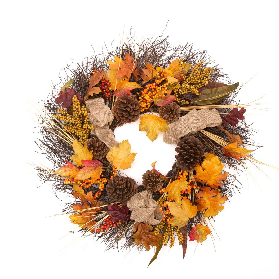 Holiday Living 24-in Indoor/Outdoor Vine Artificial Thanksgiving Wreath