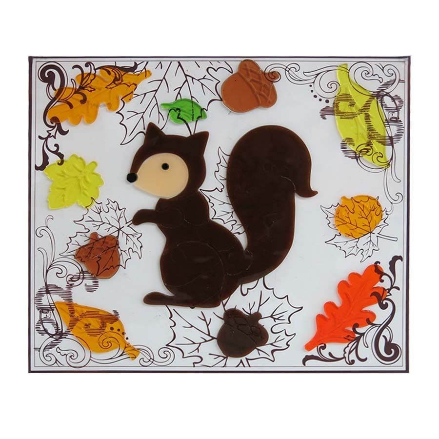 Holiday Living Gel Squirrel Window Cling Indoor Thanksgiving Decoration