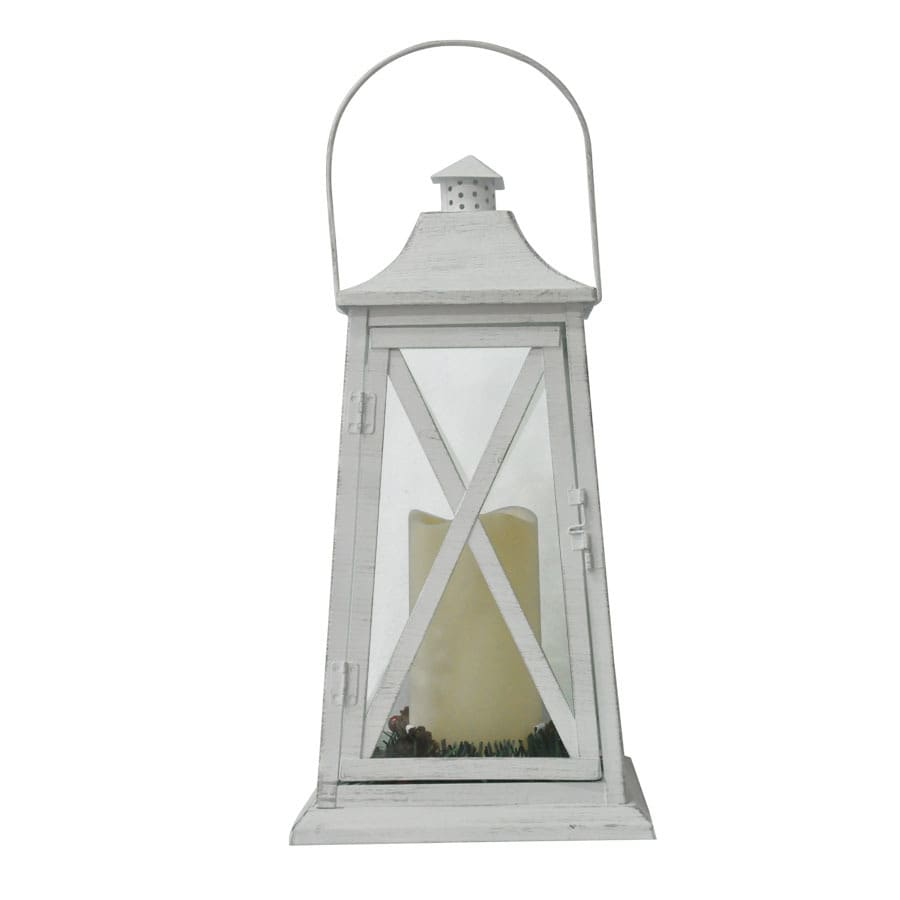 Holiday Living 14.87-in Battery-Operated LED Electric Lantern with Pillar Candle