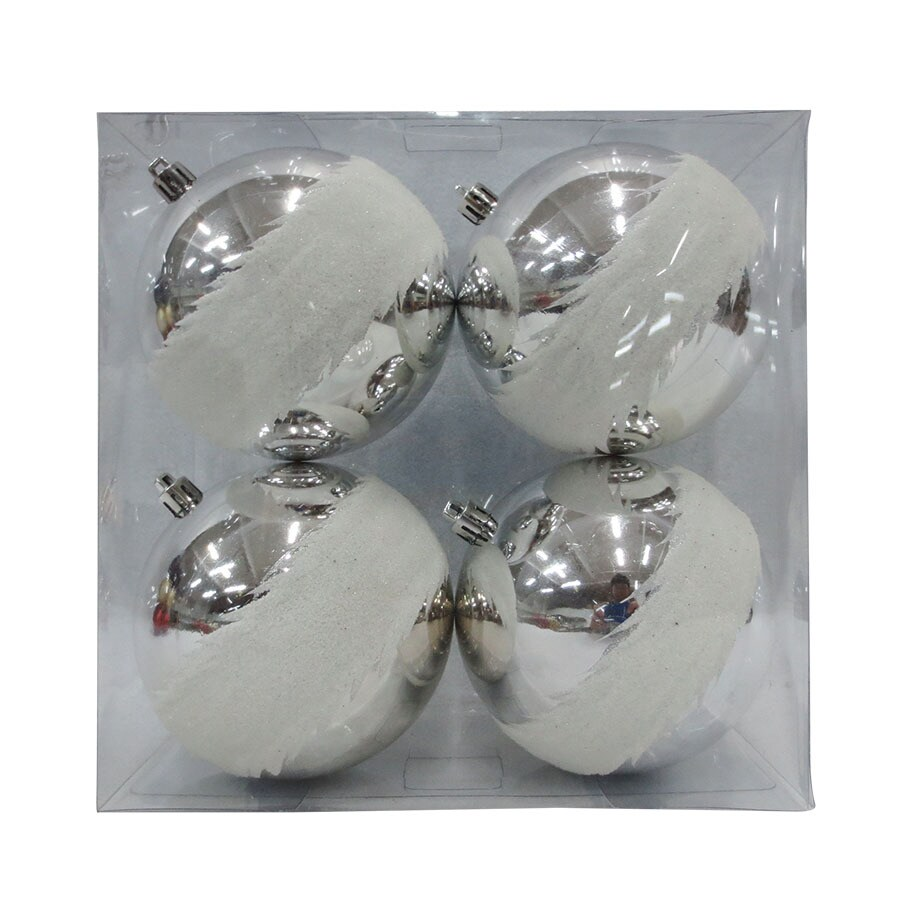 allen + roth 4-Pack Silver/White Ball Ornament Set