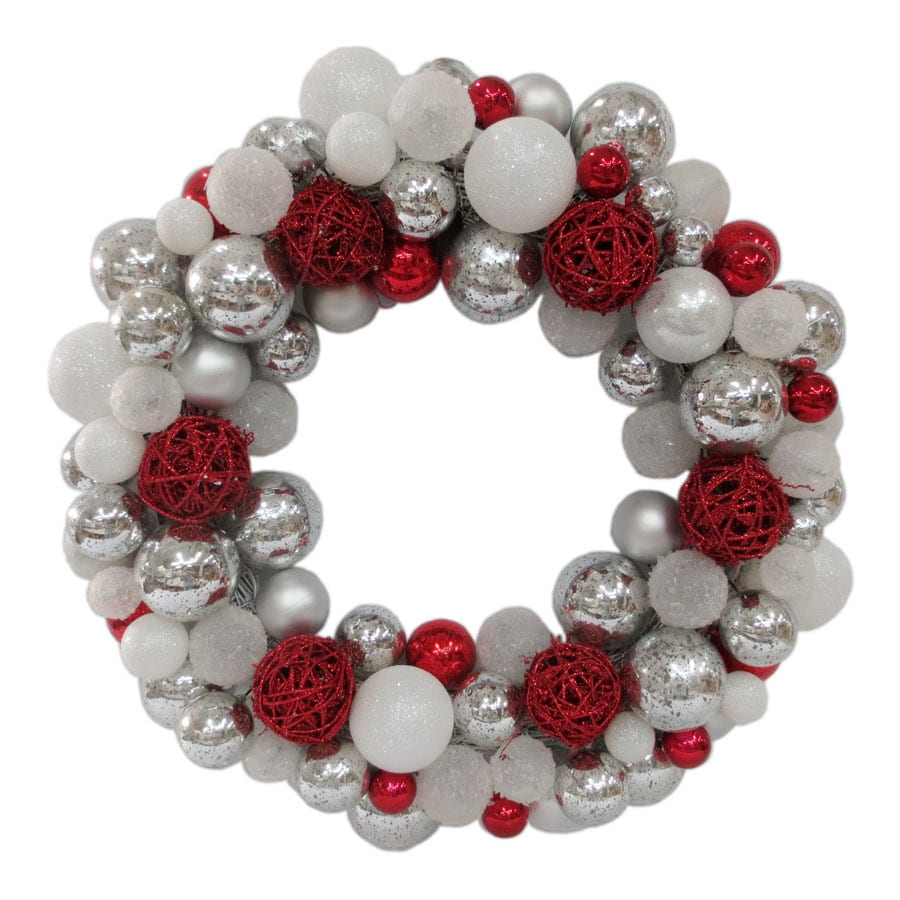allen + roth (No Cinematic Universe) 24-in Indoor/Outdoor (Not Powered) Silver/White/Red Ornament Artificial Christmas Wreath with (Unlit) (Unlit) (Unlit) Lights
