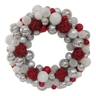 Silver Christmas Wreath.24 In Indoor Outdoor Silver White Red Ornament Artificial Christmas Wreath