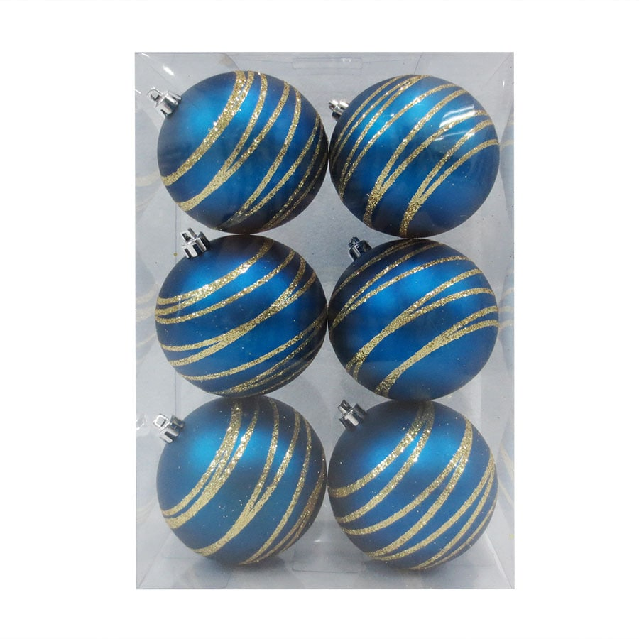 Holiday Living 6-Pack Blue/Gold Ball Ornament Set
