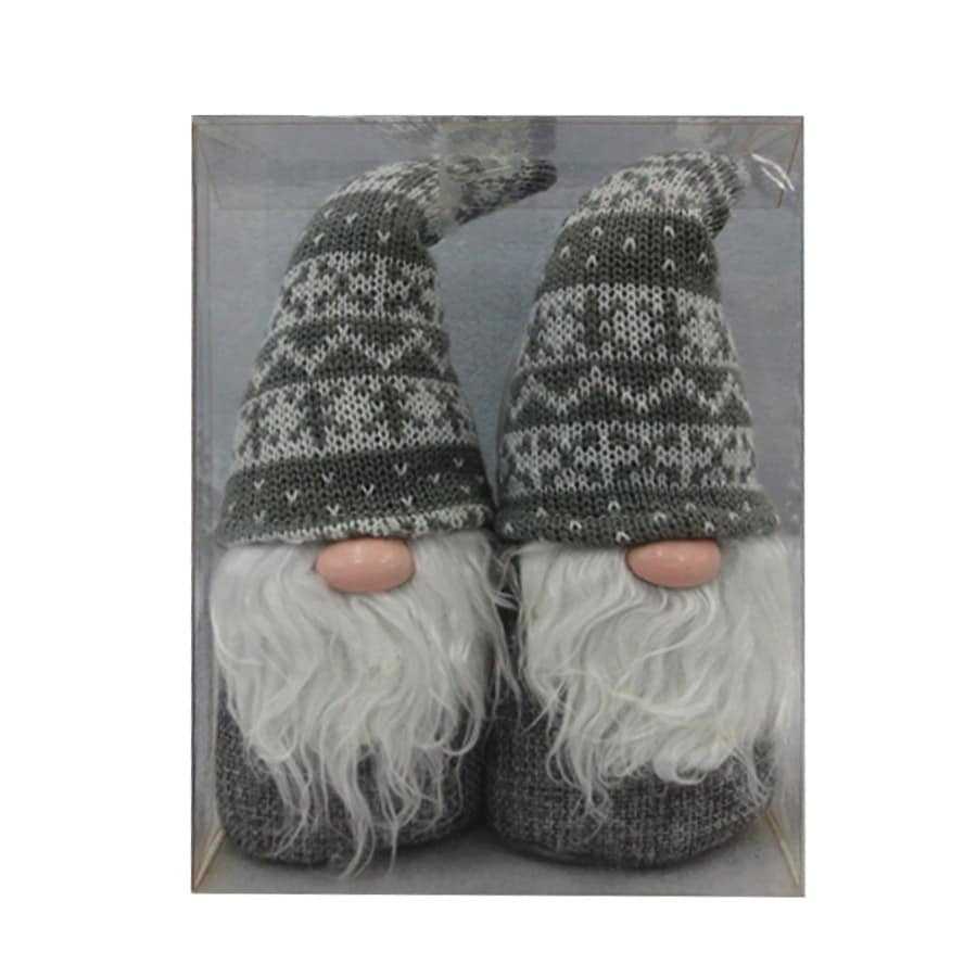 Holiday Living 2-Pack Gray Santa Ornament Set