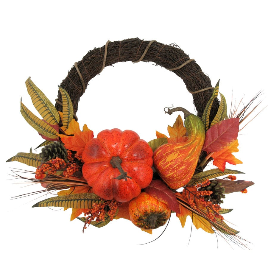 Holiday Living 22-in Orange Indoor Gourd Artificial Thanksgiving Wreath