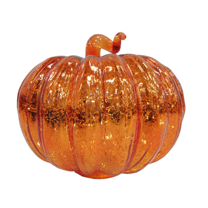 Holiday Living Glass Pre Lit Pumpkin Figurine In The Indoor Fall Decorations Department At Lowes Com