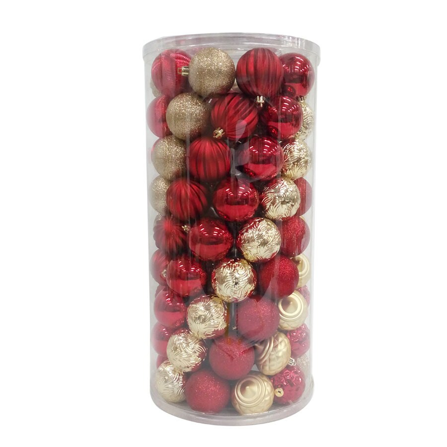 allen + roth 101-Pack Red/Gold Ball Ornament Set