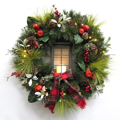 30 In Pre Lit Outdoor Battery Operated Green Red Lantern Artificial Christmas Wreath With White Warm Led Lights