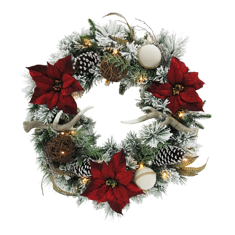 holiday living 30 in pre lit indooroutdoor battery operated green - Battery Operated Christmas Wreaths