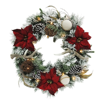 Red And White Christmas Wreath.30 In Pre Lit Indoor Outdoor Battery Operated Green Red White Antler Artificial Christmas Wreath With White Warm White Led Lights