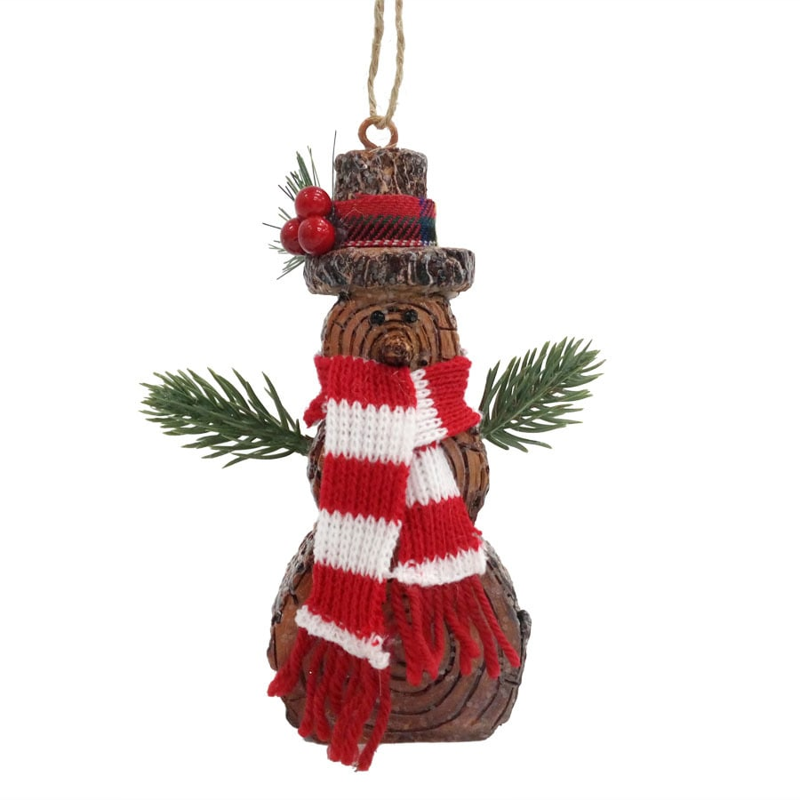 Holiday Living Brown/Red Snowman Ornament