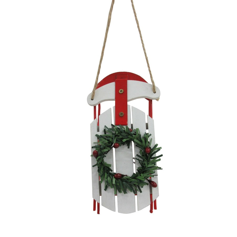 Holiday Living White/Red/Green Sleigh Ornament