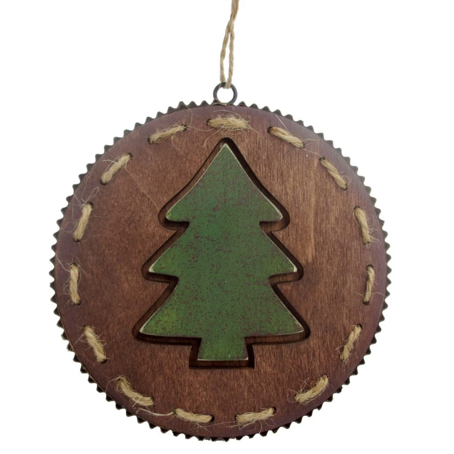 Holiday Living Brown/Green Disc Ornament