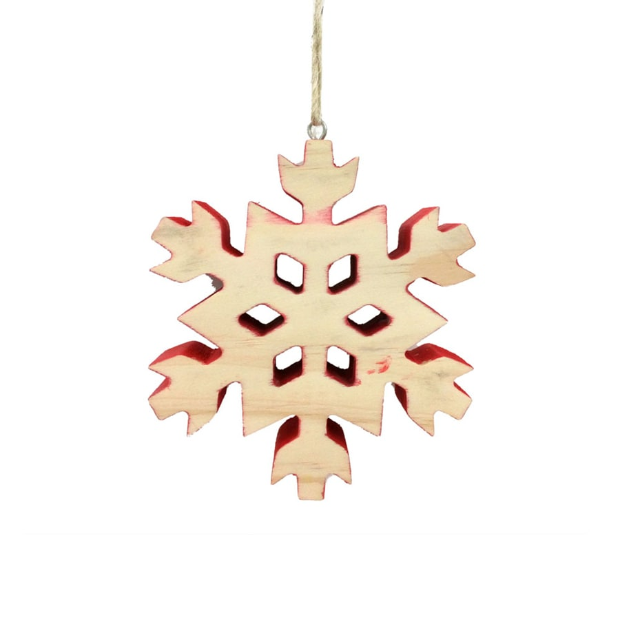 Holiday Living Brown/Red Snowflake Ornament