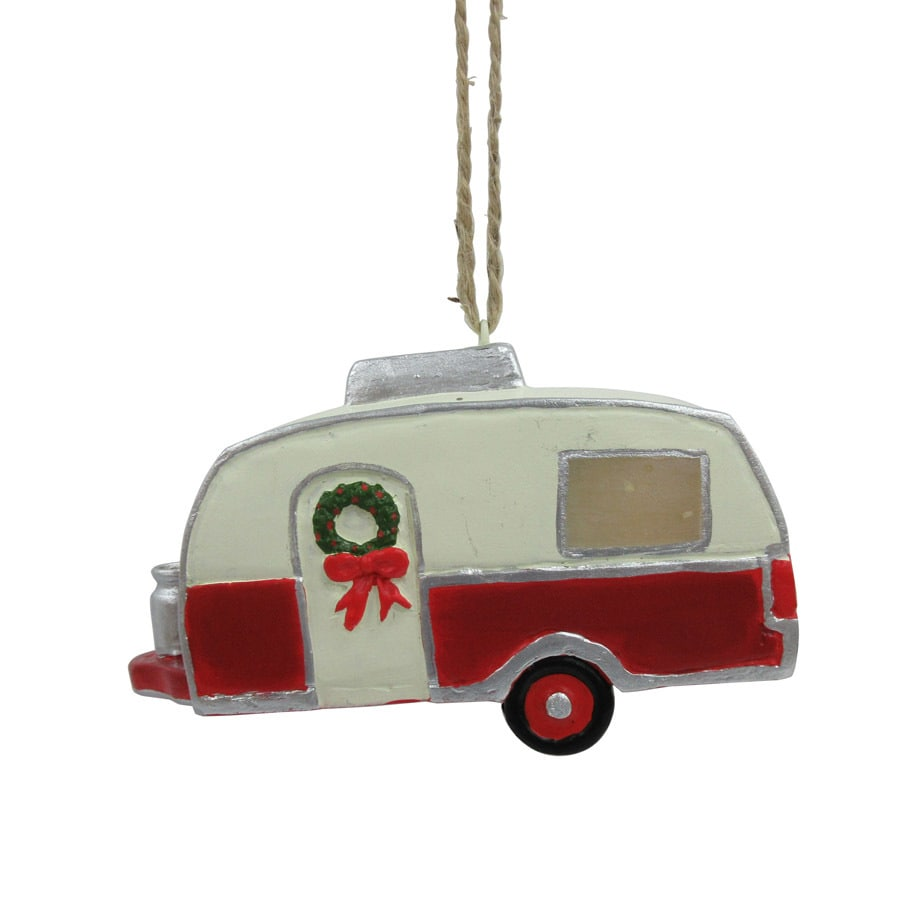 Holiday Living White/Red Camper Ornament Yellow LED Lights