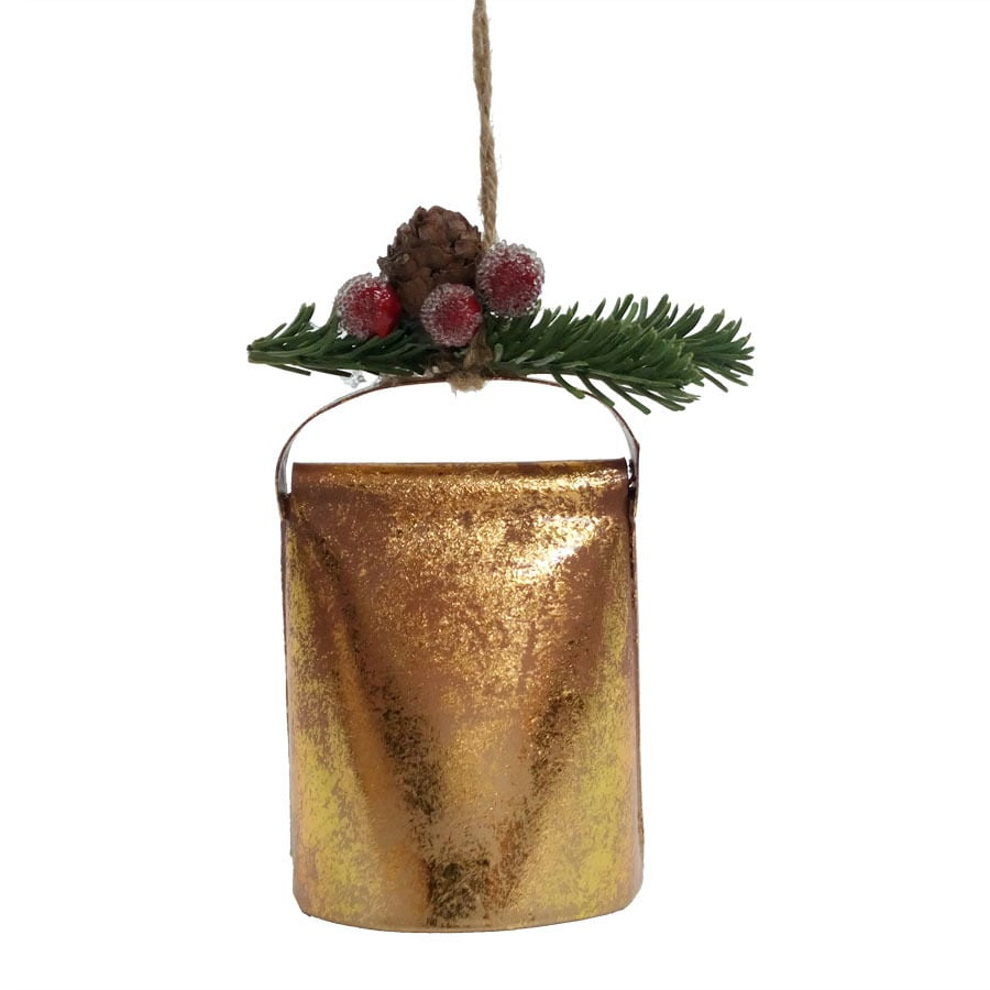 Holiday Living Gold/Green Bell Ornament