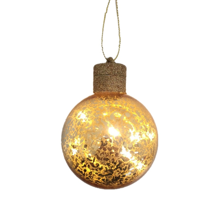 Holiday Living Gold Ball Ornament with White LED Lights