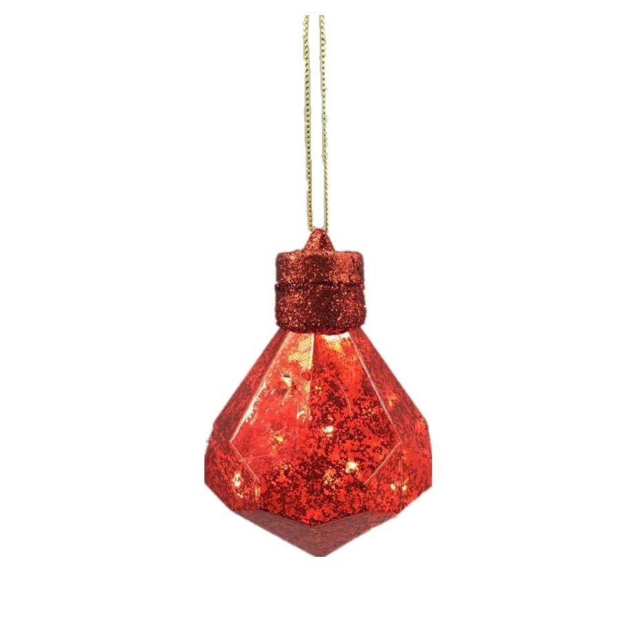 Holiday Living Red Diamond Ornament with White LED Lights