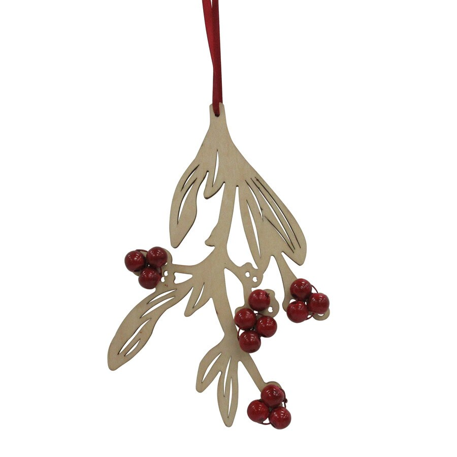 Holiday Living White/Red Leaf Ornament