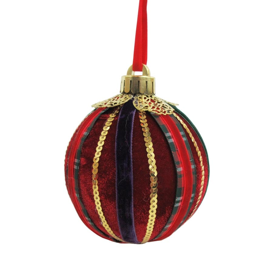 Holiday Living Red/Gold Ball Ornament