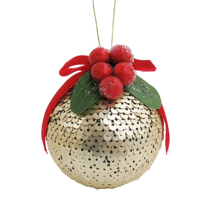 Holiday Living Gold/Red Ball Ornament