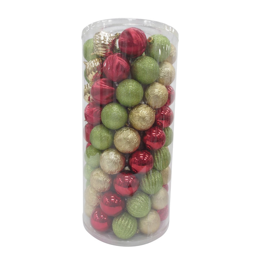 Holiday Living 101-Pack Green/Gold/Red Ball Ornament Set