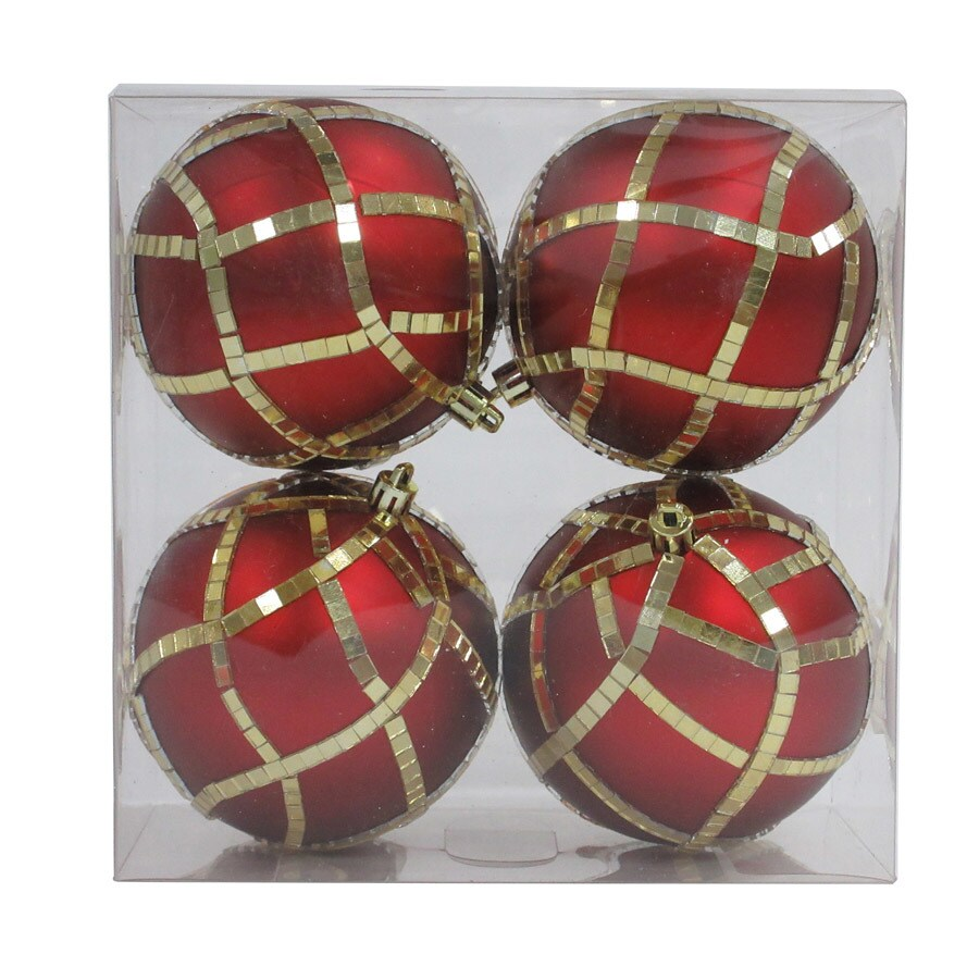 Holiday Living 4-Pack Red/Gold Ball Ornament Set