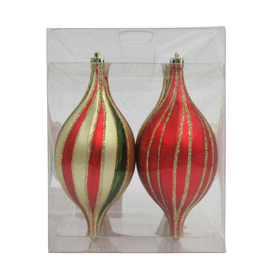 Holiday Living 4-Pack Red/Gold/Green Finial Ornament Set