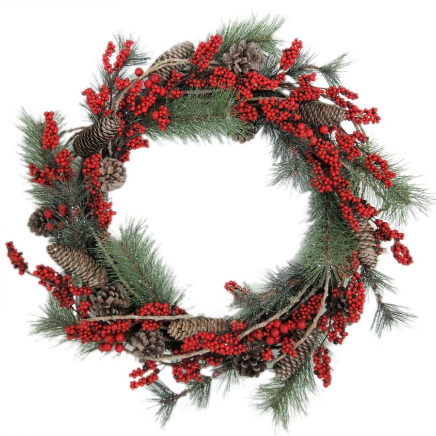 Holiday Living 18-in Indoor/Outdoor Green/Red Berry Artificial Christmas Wreath