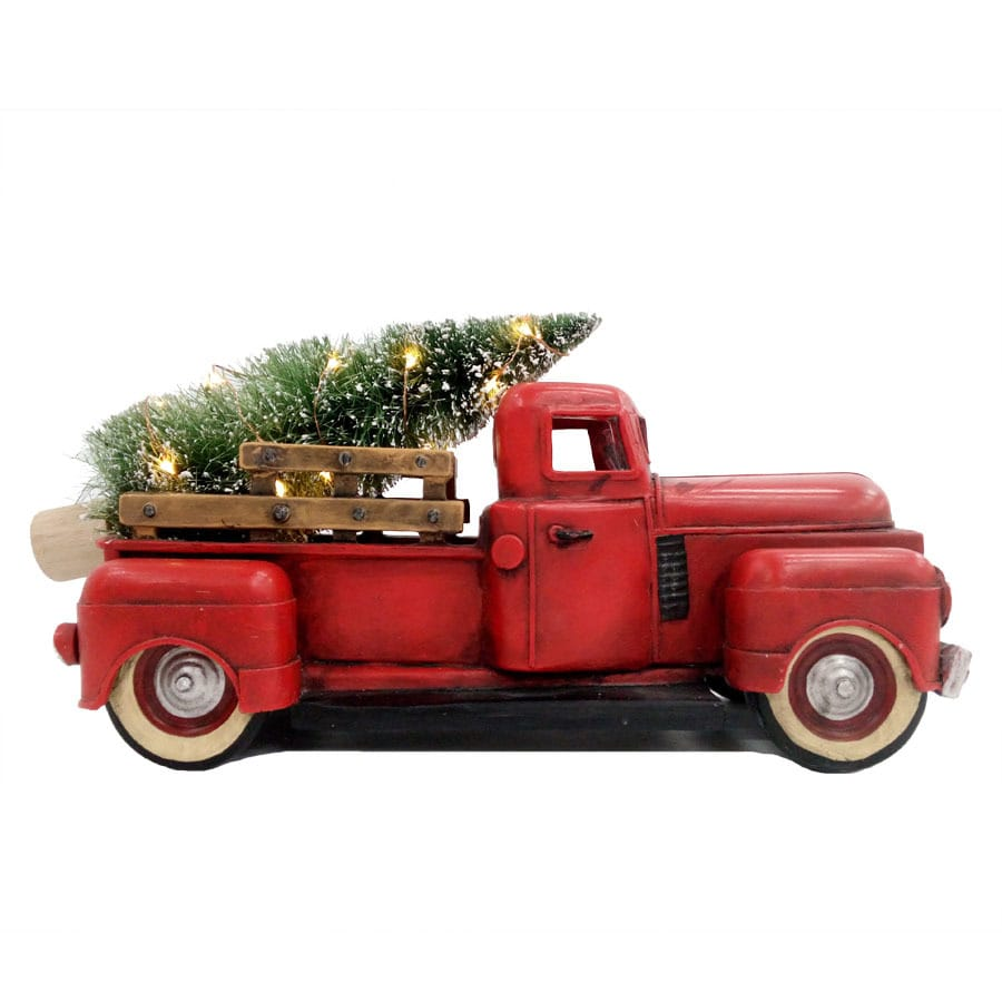 allen roth pre lit truck figurine with constant white led lights