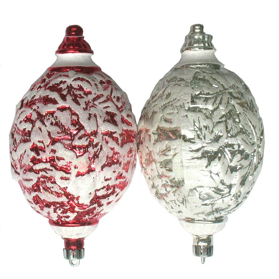 Holiday Living 2-Pack Red Plastic Shatterproof Egg Shaped Ornaments