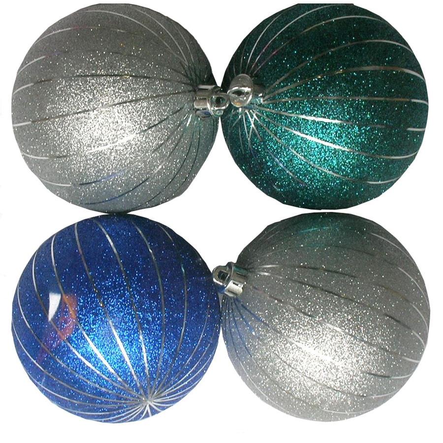 Holiday Living 4-Pack Multicolor Plastic Shatterproof Glitter Ornaments
