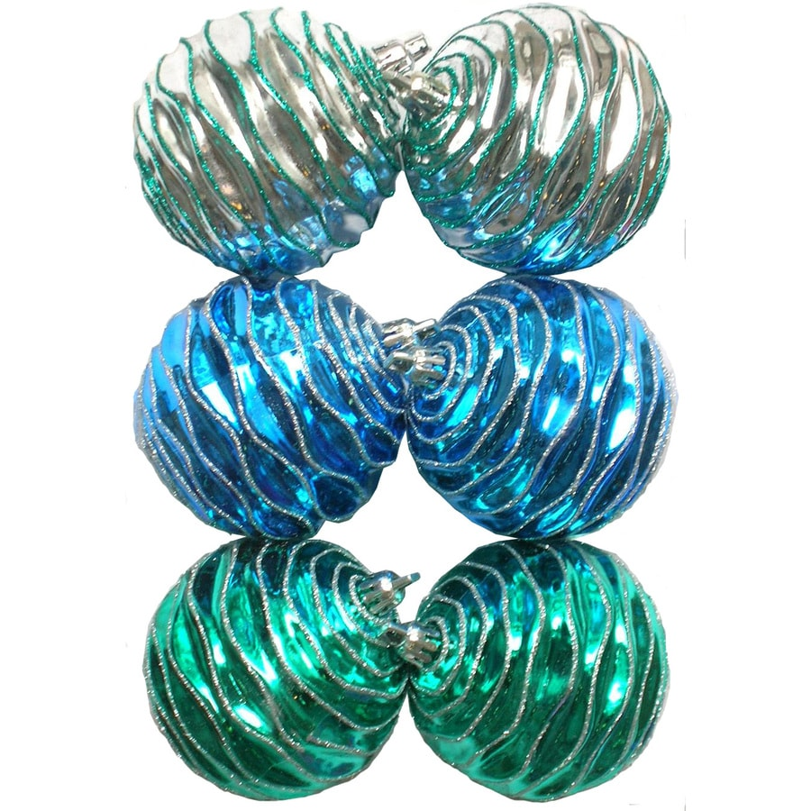 Holiday Living 6-Pack Teal Plastic Shatterproof Wavy Ornaments