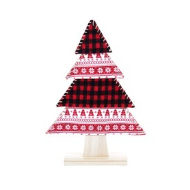 allen + roth Plaid Christmas Tree Tabletop Decoration