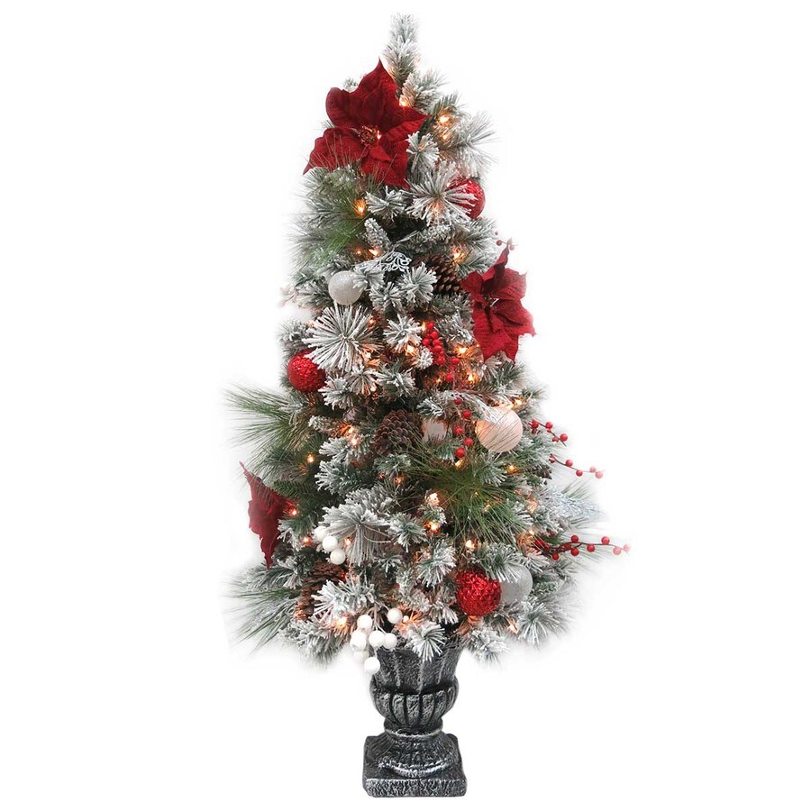 5-ft Pre-lit Mixed Needle Flocked Artificial Christmas Tree with 150 Constant Warm White Incandescent Lights at Lowes.com