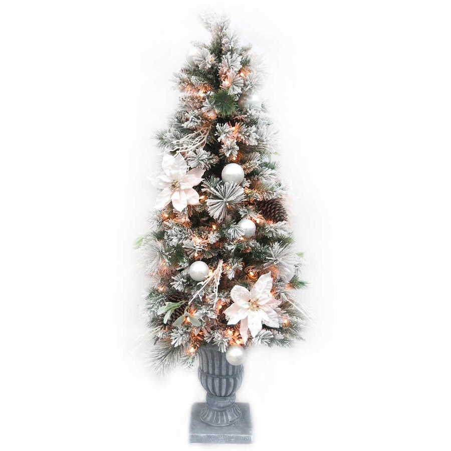 5 ft pre lit mixed needle flocked artificial christmas tree with 150 constant warm