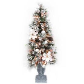 5-ft Pre-lit Mixed Needle Flocked Artificial Christmas Tree with 150 Constant Warm