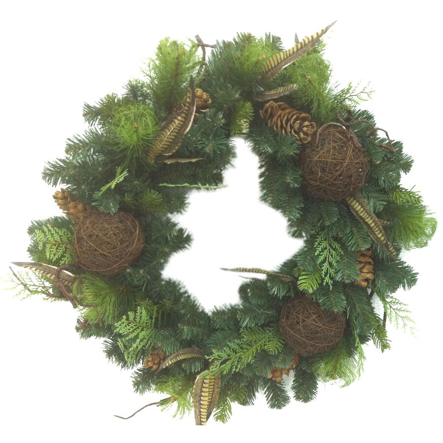 Holiday Living 30-in Un-Lit Natural Scotch Pine Artificial Christmas Wreath