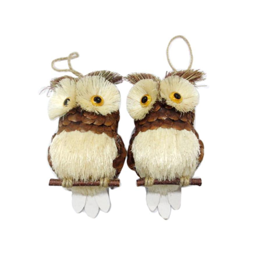 Holiday Living Natural Brown and White Owl Ornament Set Lights