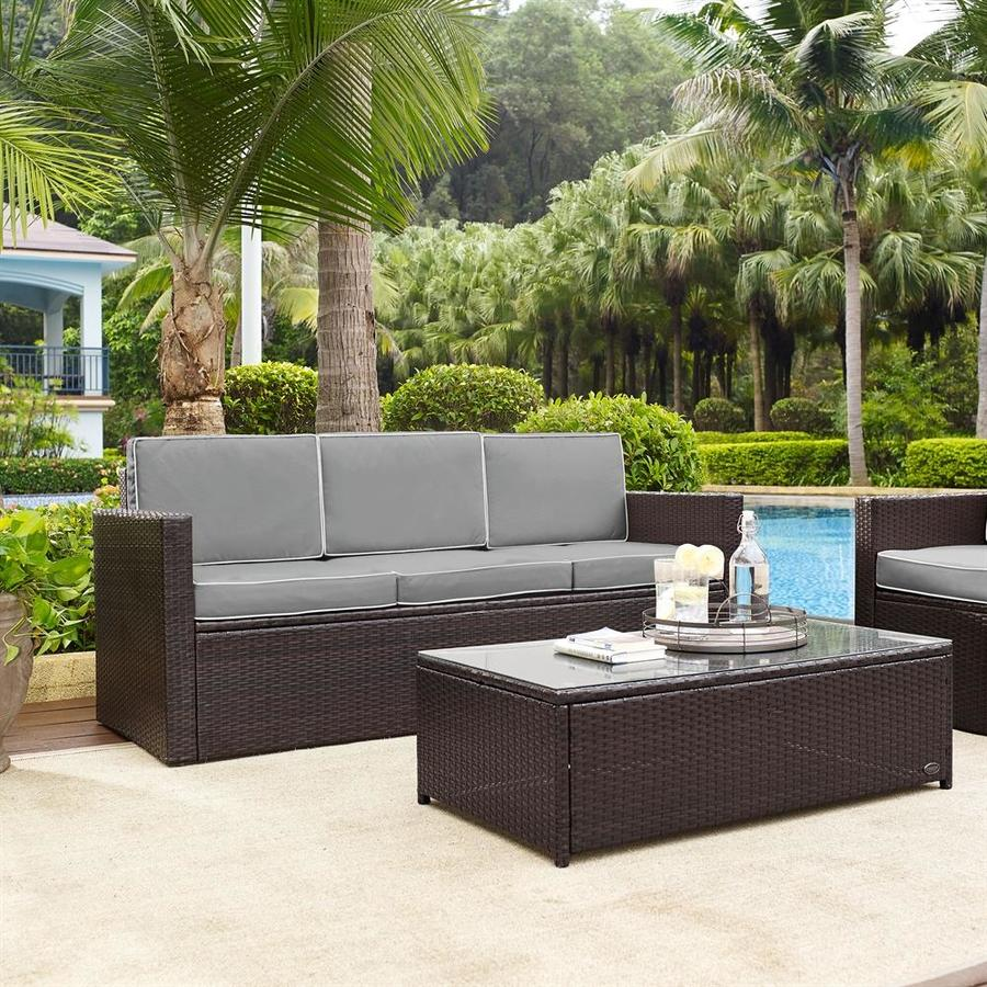 Merveilleux Crosley Furniture Palm Harbor Wicker Outdoor Sofa With Cushion And Steel  Frame