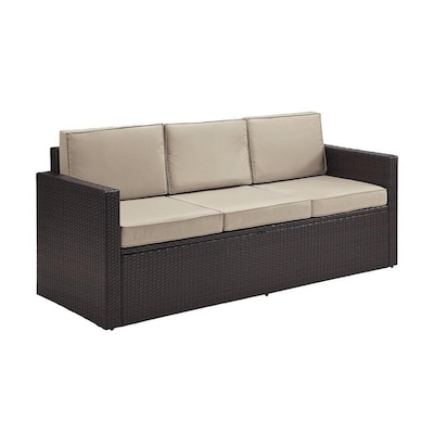 Crosley Furniture Palm Harbor Wicker Outdoor Sofa with ...