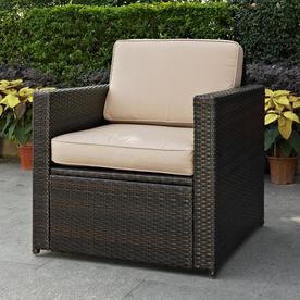 Palm Harbor Outdoor Wicker Arm Chair In Brown with Sand Cushions - Crosley