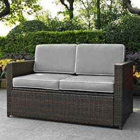 Crosley Furniture Palm Harbor Wicker Outdoor Loveseat With Tan Cushion And Dark Brown Steel Frame